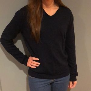 J Crew navy v neck sweater.